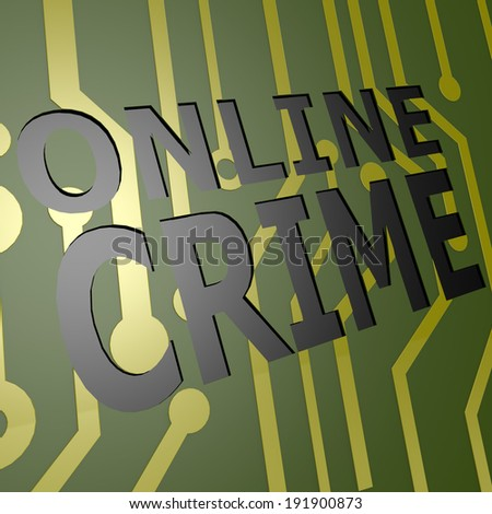 PCB Board with online crime - stock photo