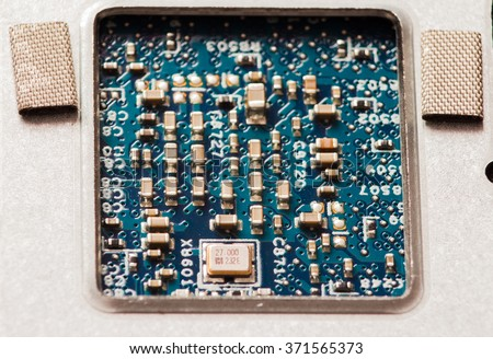 PCB with components - stock photo
