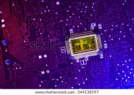 PCB witn CPU core. Color lighting. - stock photo