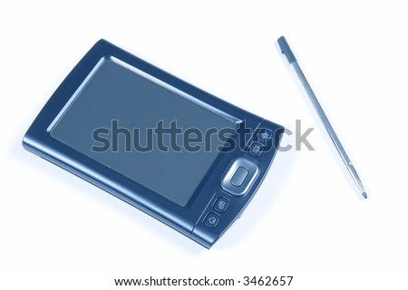 PDA and Pen Isolated on white background - stock photo