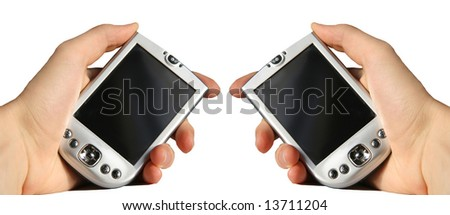 PDA in hand - stock photo