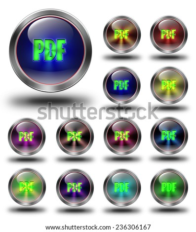 PDF symbol, aluminum, steel, chromium, glossy, icon, button, sign, icons, buttons, crazy colors - stock photo