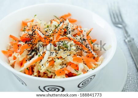 pe-tsai cabbage salad with carrot, dill, olive oil and poppy seed - stock photo