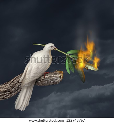 Peace crisis concept with a white dove standing on a tree holding an olive branch on fire as a symbol of fighting and search for a truce or agreement in the middle East or other countries at war. - stock photo