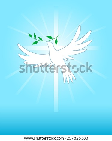 Peace dove on the cross background. Raster version.   - stock photo