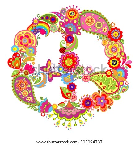 Peace flower colorful symbol with paisley - stock photo