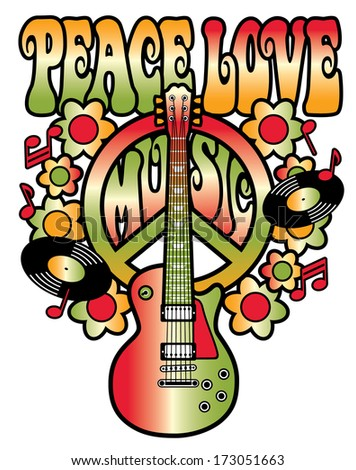 PEACE LOVE MUSIC text design with peace symbol, guitar, vinyl records, flowers and musical notes in red and green gradients. - stock photo