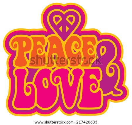 Peace & Love retro-style text design with a peace heart symbol. - stock photo