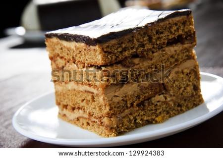 Peace of chocolate cake. - stock photo