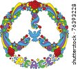 Peace symbol  with flowers and stars pop-art style - stock photo