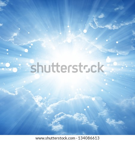 Peaceful background - beautiful blue sky with bright sun, heaven - stock photo