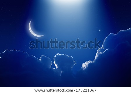 Peaceful background, blue night sky with moon, stars, beautiful clouds and bright spotlight from above. Elements of this image furnished by NASA - stock photo