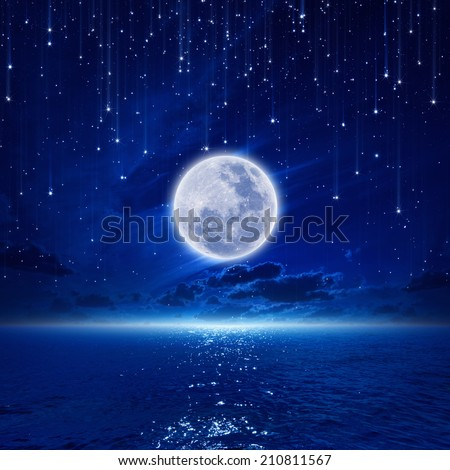 Peaceful background, night sky with full moon and reflection in sea, falling stars, glowing horizon. Elements of this image furnished by NASA - stock photo
