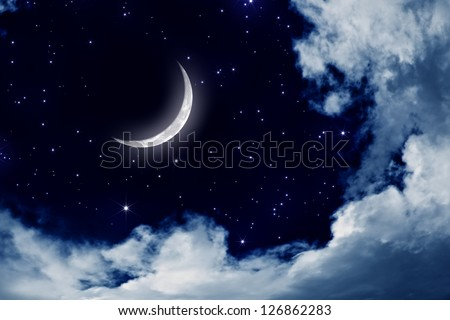 Peaceful background, night sky with moon, stars, beautiful clouds. Elements of this image furnished by NASA - stock photo