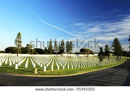 Peaceful cemetery - stock photo