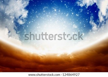 Peaceful easter background - blue sky, bright sun, heaven - stock photo