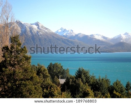 Peaceful lake and mountains in Bariloche, Argentina. - stock photo