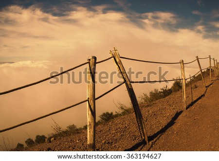 Peaceful landscape with clouds over the city of Naples seen  from the Vesuvius Crater, active volcano of Naples . Creative  style. - stock photo