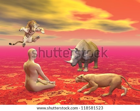 Peaceful man sitting in lotus position in front of agressive wild animals in red background - stock photo