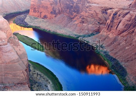 peaceful river in the canyon - stock photo
