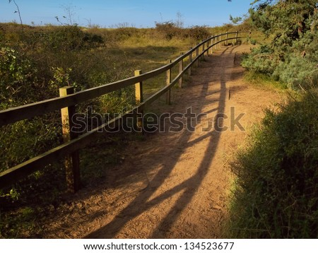 Peaceful rural scene of a wooden track in a natural area winding it's way towards the beach - stock photo