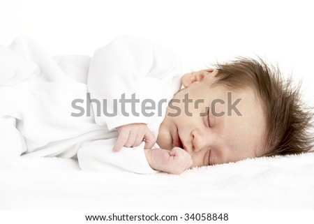 Peaceful Sleeping Newborn Baby - stock photo