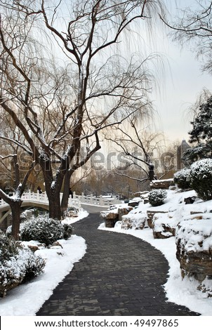 Peaceful snow-covered landscape in a park. - stock photo