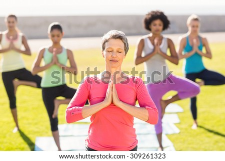 Peaceful sporty woman doing yoga in yoga class in parkland - stock photo