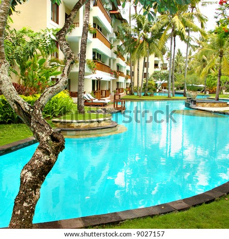 peaceful territory with pool on balinese resort - stock photo