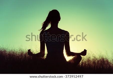 Peaceful yoga. - stock photo