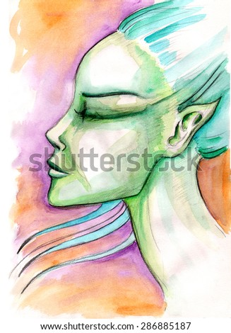 Peacefulness. Female profile portrait with her eyes closed and hair blowing. Watercolor painting - stock photo