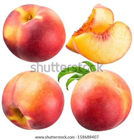 Peach and Slice isolated on white - stock photo