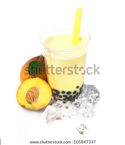Peach Boba Bubble Tea with fruits and crushed ice. - stock photo