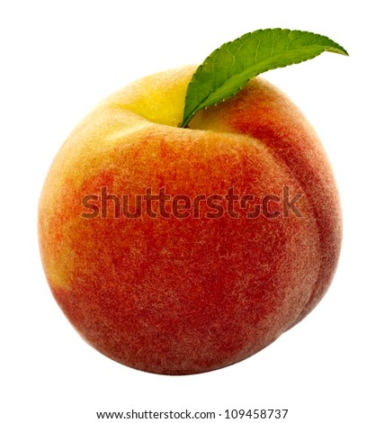 Peach CLIPPING PATH included. Closeup of a solo ripe peach with green leaf isolated on white. - stock photo