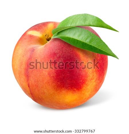 Peach. Fruit isolated on white. - stock photo