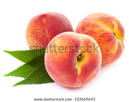 peach fruits isolated on white background - stock photo