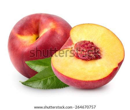 peach fruits isolated on white background  - stock photo