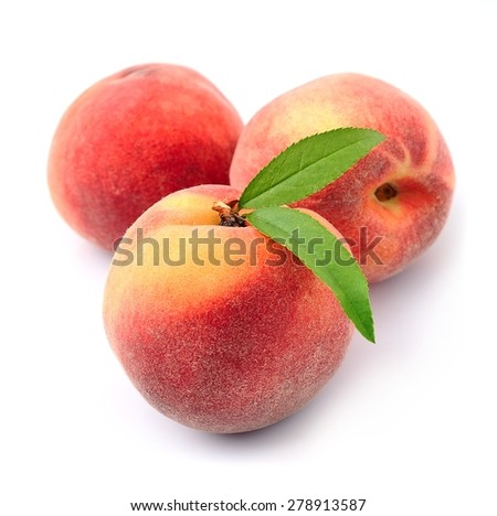 Peach fruits on a white background  - stock photo