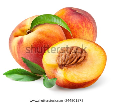Peach. Fruits with leaves isolated on white background - stock photo