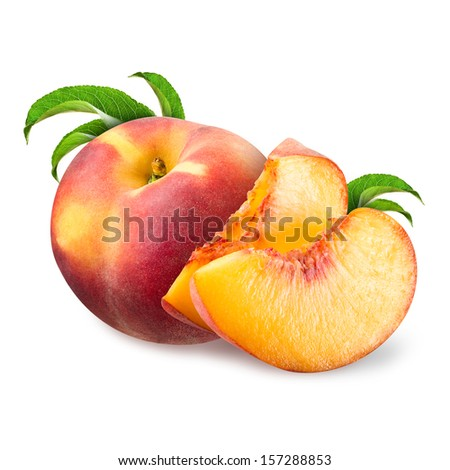 Peach isolated on white - stock photo