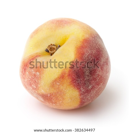 Peach isolated on white background with clipping path - stock photo