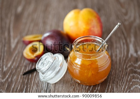 Peach-plum homemade jam with vanille - stock photo