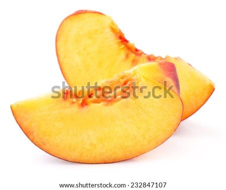peach slice isolated on white background  - stock photo