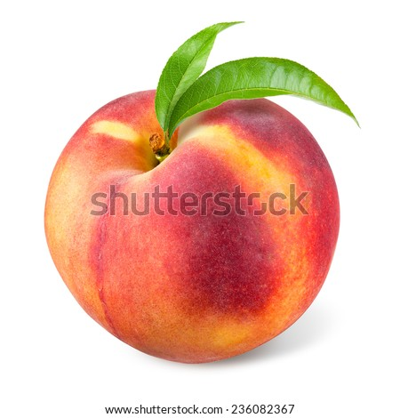 Peach with leaf isolated on white - stock photo