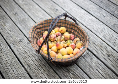 Peaches in a basket on wood floor - stock photo
