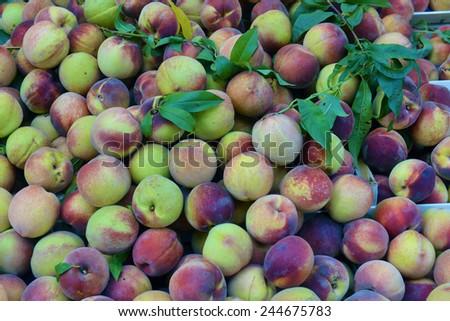 peaches on a shop window - stock photo