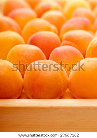 Peaches on a tray - stock photo