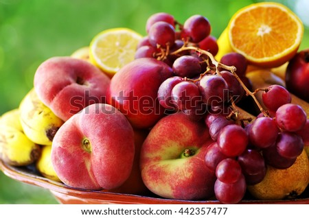 peaches,pears and bunch of grapes  - stock photo