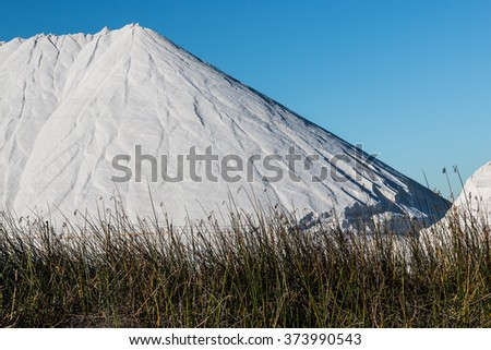 Peak of mountain of natural salt being produced in Chula Vista, California.  - stock photo