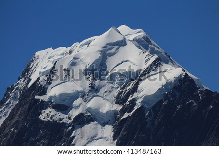 Peak of Mt Cook. Highest mountain of the Southern Alps, New Zealand. - stock photo